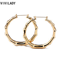 VIVILADY Hot Larger Bamboo Hoop Earrings Women Basketball Wives Summer Spring Autumn Fashion Jewelry Girl Bijoux Accessory Gifts
