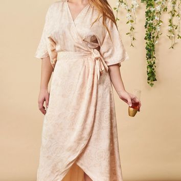 Hibiscus Flower Maxi Wrap Dress in Blush + Copper