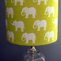 Elephants on Lime Green, Children's Drum Lamp Shade