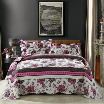 DaDa Bedding Bohemian Floral Chrysanthemum Hot Pink Brown Patchwork Quilted Bedspread Set (KBJ1629)