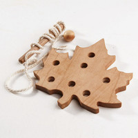 Wooden Lacing Toy Learning toy Fine Motor Skills Maple Leaf Educational Wooden Toy Montessori Wooden Toy Handmade Wood Toys for Kids
