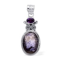 On Sale Artisan Crafted Utah Tiffany Stone, Amethyst Pendant without Chain in Sterling Silver Nickel Free