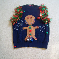 Ugly Christmas Sweater Men L  Vest Gingerbread man Funny Bite Me Naughty Party Winner with little bells