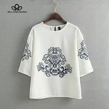 LMFET7 2015 summer autumn new vintage ethnic black baroque floral placement print half sleeve white pullover blouse shirt