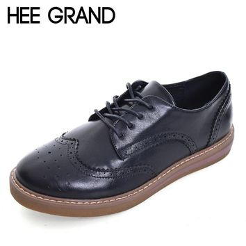 HEE GRAND Oxford Shoes Woman Autumn Flats Fashion Brogue Women  Shoes Moccasins Women Wing sneakers   XWD6051