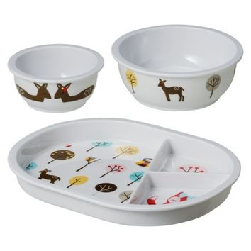 Circo 3 Piece Divided Plate and Bowl Set - Nature Animals