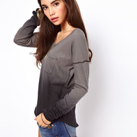 Free People | Free People Fabulous Dip Dyed Tee with Long Sleeves at ASOS