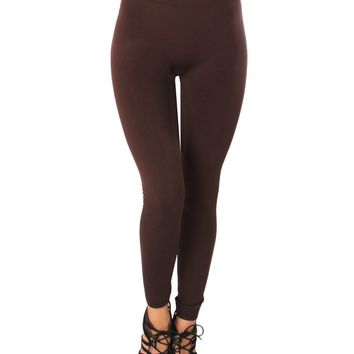 LL548 Comfy and Cozy Brown Winter Fleece Leggings
