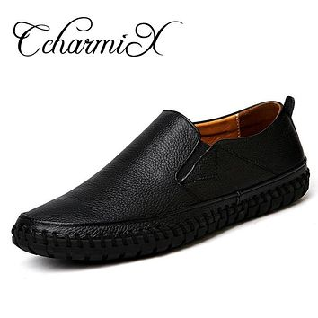 Men Shoe Genuine Leather Formal Dress Men Oxfords Slip On Cowhide Leather Handmade Wedding Male Black Moccasins