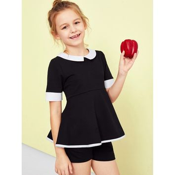 Girls Contrast Collar Zip Back Peplum Top & Shorts Set