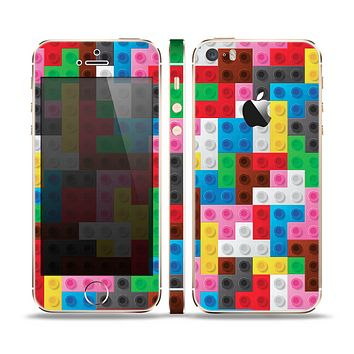 The Neon Colored Building Blocks Skin Set for the Apple iPhone 5s