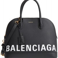 Balenciaga Medium Ville Logo Leather Satchel | Nordstrom