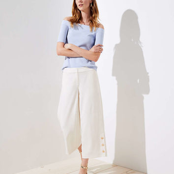 Petite Button Cuff Wide Leg Crop Pants | LOFT