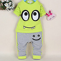 2PCS Toddler Baby Boys Girls Infant Suit Kids Long Sleeve Tops Pants Outfit Sets