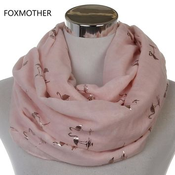 Free Shipping 2018 New Fashion Women Shiny Pink Beige Grey Bronzing Foil Gold Flamingo Swan Infinity Scarf Snood For Womens