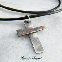 Mens Sterling Silver,Copper Cross necklace. Hammered oxidized copper,oxidized sterling silver. Men's leather necklace. Christians necklace.