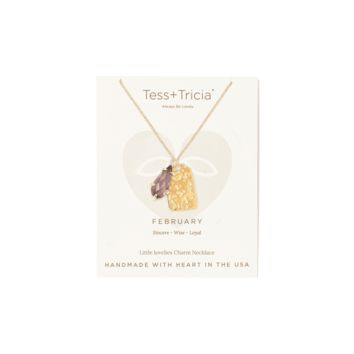 Tess and Tricia February Birthstone Penta + Gem Necklace