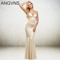 ANGVNS Party Long Dress 2017 Women New Casual Maxi spaghetti strap Dresses Formal Backless Trumpet Dress Lady Elegant