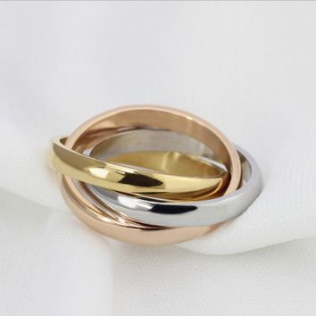 Gift Shiny Stylish New Arrival Jewelry Gifts 3-color Ring [11337092295]