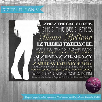 "Flapper Roaring 20's Speakeasy Birthday Invitations - ""Flapper Girl"" Collection (Printable File Only)"