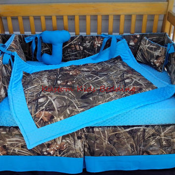 New 7 piece brown real tree Max 4 CAMOUFLAGE baby crib bedding set w/ turquoise  minky dot fabrics camo
