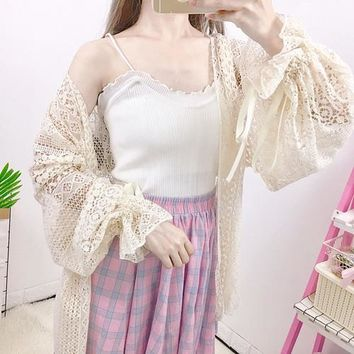 Korea popular Waistcoat white short crop top Summer women small sexy lace knitted elastic thin wearing shirt top vadim vest