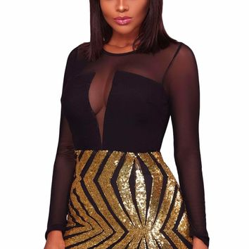 Black Sheer Mesh Long Sleeve Gold Sequin Club Dress