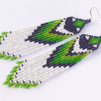 Native American Earrings - Green White Black. Beaded Long Dangle Earrings