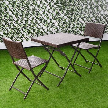 Giantex 3 PC Outdoor Folding Table Chair Furniture Set Rattan Wicker Bistro Patio Brown Outdoor Furniture HW51580