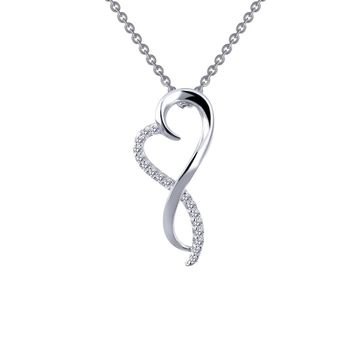 Lafonn Classic Sterling Silver Platinum Plated Lassire Simulated Diamond Necklace (0.17 CTTW)