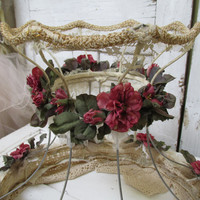Handmade up cycled lampshade shabby chic burlap and roses by Anita Spero Design
