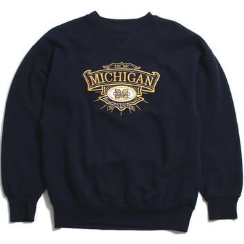University of Michigan Embroidered Bar M Crest Midwest Embroidery Crewneck Sweatshirt Navy (Large)