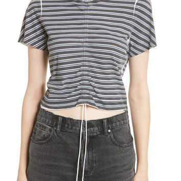 T by Alexander Wang Ruched Stripe Cotton Tee | Nordstrom