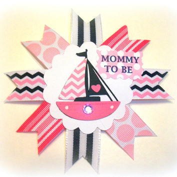 Small Nautical Girl Pink Baby Shower Corsage - Mommy To Be Badge Pin Mum - Made To Order