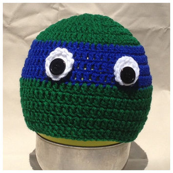ninja turtle hat, kids beanie, hand crochet hat, childrens clothes
