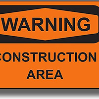 Warning Construction Area Sign Picture on Stretched Canvas, Wall Art Decor, Ready to Hang!