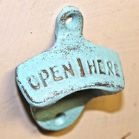 Aqua Blue ~ Open Here~ Bottle Opener by AquaXpressions