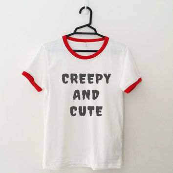 Creepy and cute ringer T-Shirt womens girls teens unisex grunge tumblr instagram blogger punk hipster gifts merch clothing