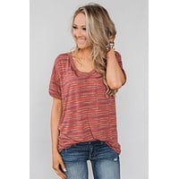 Get The Party Started Striped Pocket Tee - Brick