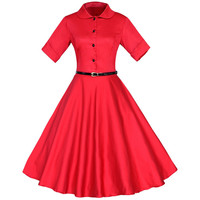 Vintage Button Front Collared Belted A-line Dress