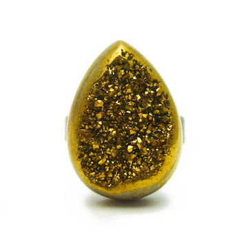 Titanium Quartz Gold Druzy Ring Teardrop Pear Shape n.7