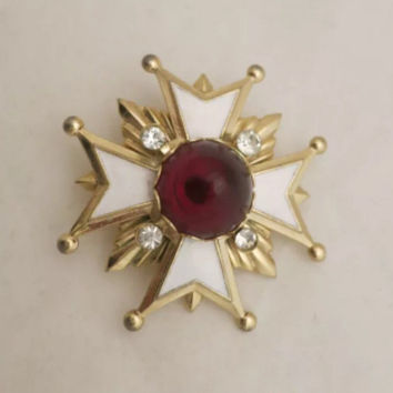 Vintage Rhinestones, White Enamel & Red Cabochon Maltese Cross Brooch Pin