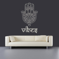 Vinyl Wall Decal Sticker Hamsa Hand yin yang Sign Indian Buddha Bedroom (r496)