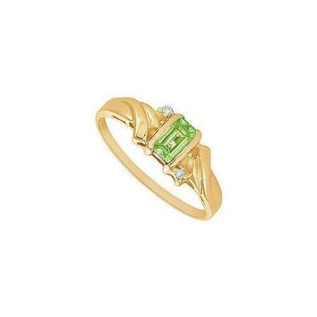 Peridot and Diamond Ring : 14K Yellow Gold - 1.00 CT TGW