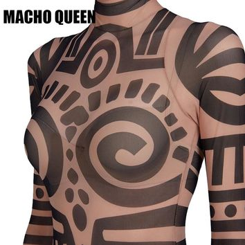 Tribal Tattoo Print Mesh Full Body Jumpsuit