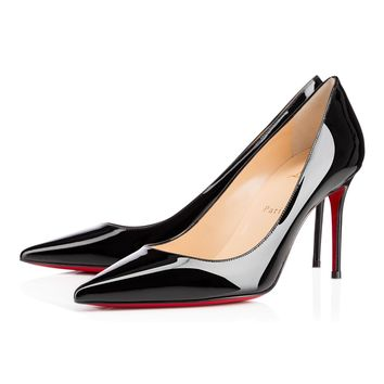 Christian Louboutin CL Decollete 554 Black Patent Leather 85mm Stiletto Heel Classic Best Deal Online