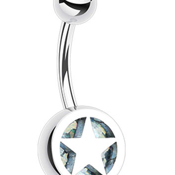 Star Holographic Glitter Inlay 316L Surgical Steel Belly Button Ring