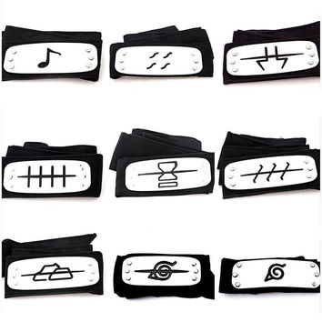 Naruto Sasauke ninja Anime  Headband Cosplay Akatsuki Fashionable Guard Headband Cartoon Accessories Gift For Kids Adult AT_81_8