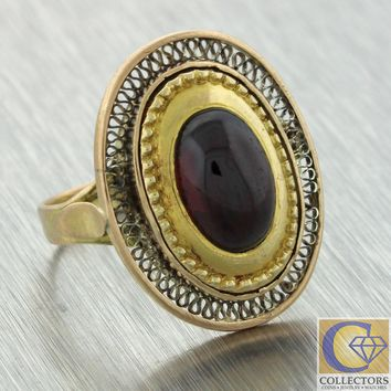 1880s Antique Victorian 14k Yellow Gold Cabochon Garnet Cocktail Ring