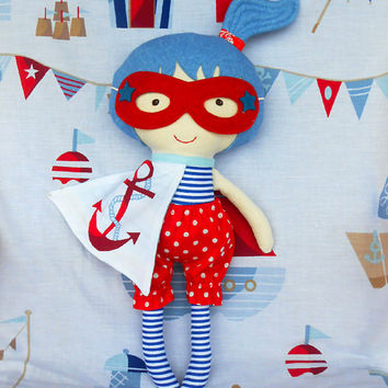DOLL, superhero girl doll, sailor doll, fabric dolls, rag doll, soft doll, dolls, cloth doll, dress up doll, nautical doll, soft toy